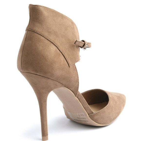 Shoes - Lovey Taupe Pointed Toe Ankle Strap Cuff Heels
